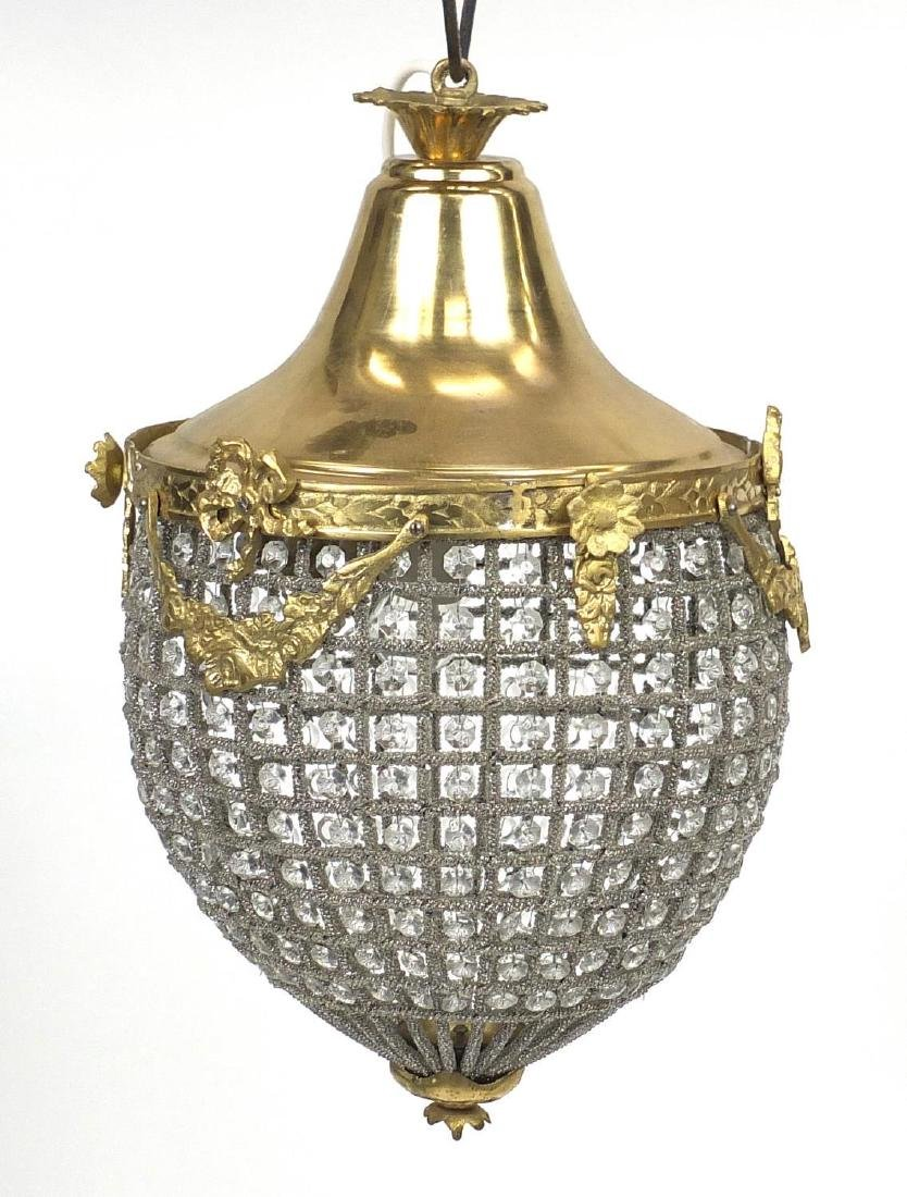 Ornate brass bag chandelier with glass drops, 45cm high
