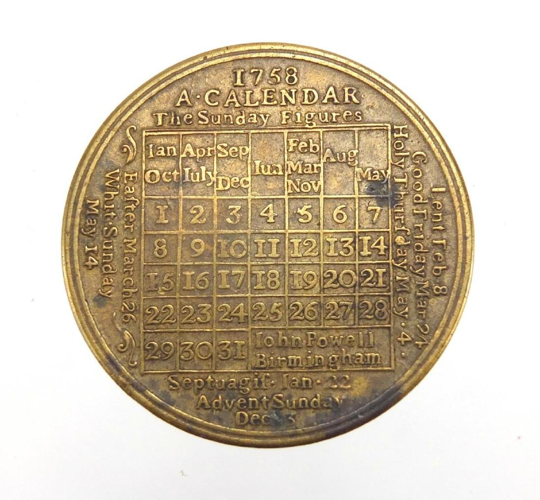 18th century brass calendar coin, 4.1cm in diameter