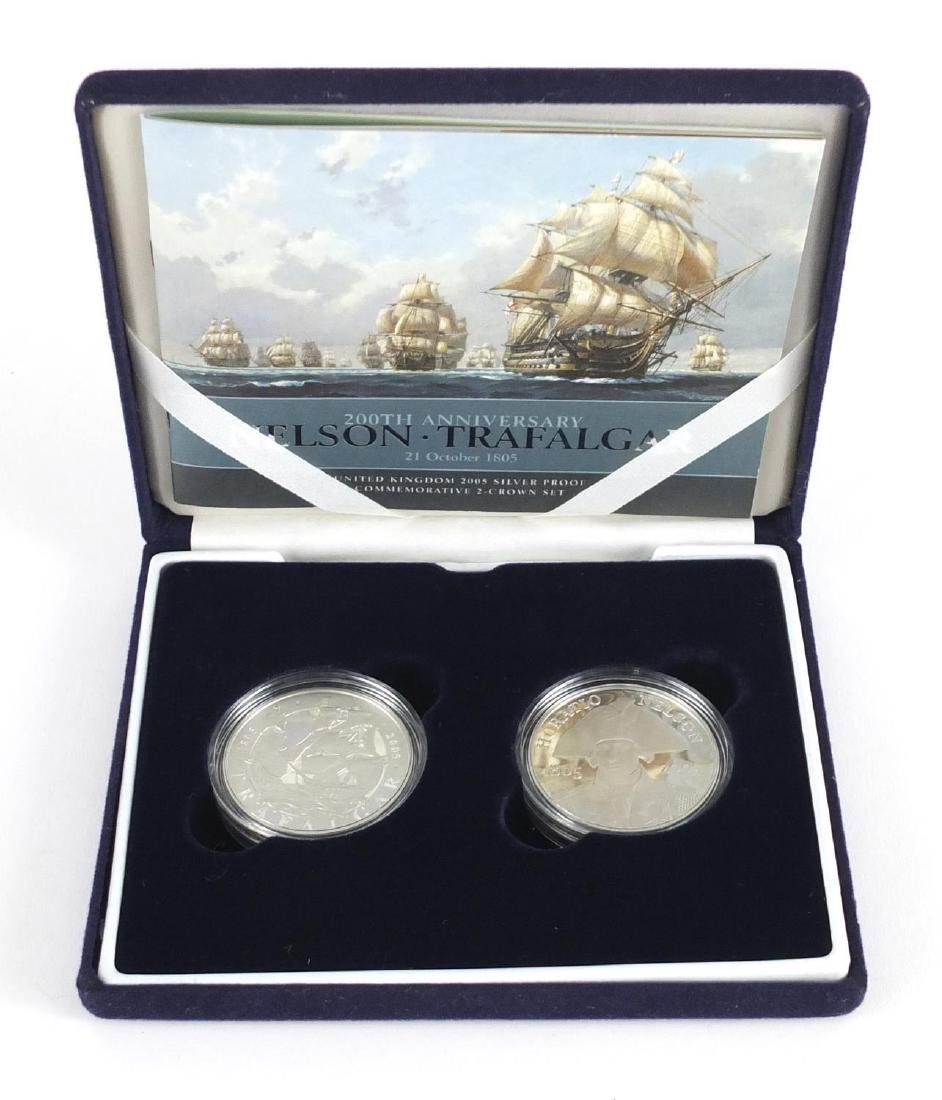 200th Anniversary Nelson Trafalgar silver proof commemorative two coin Piedfort set