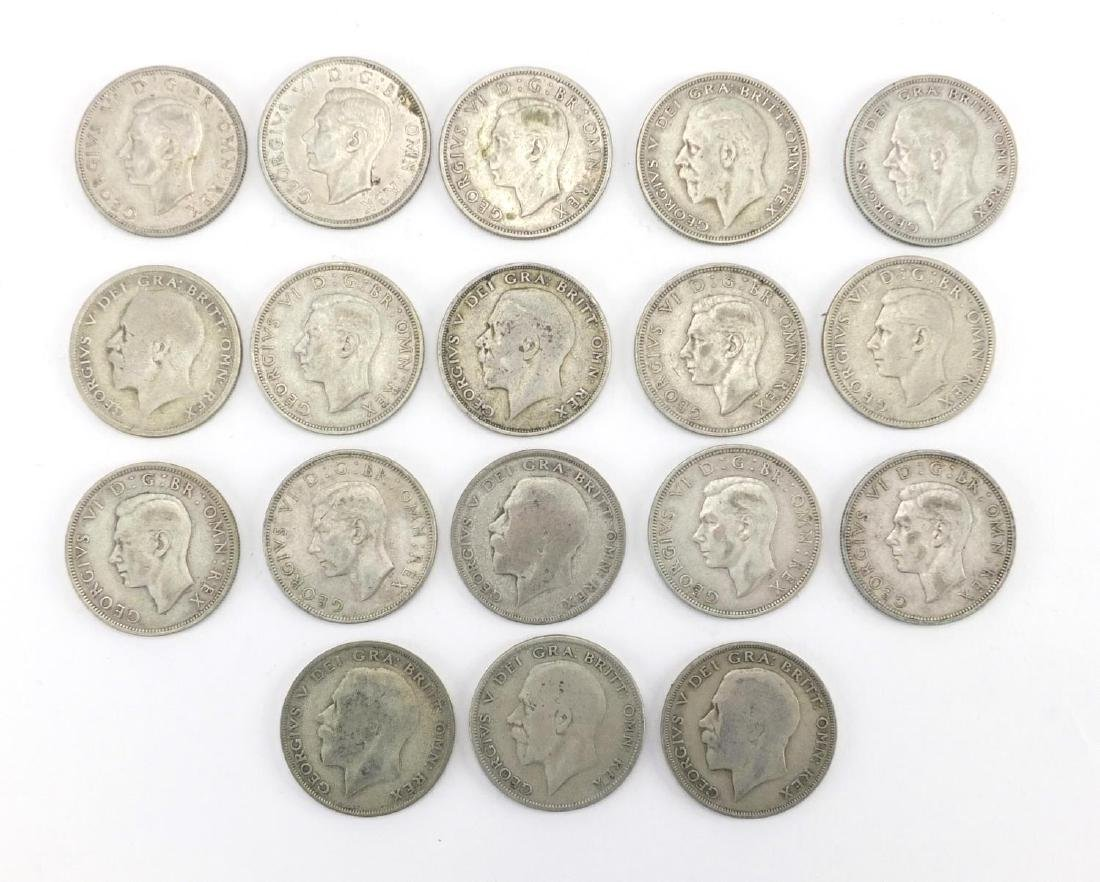 British pre decimal pre 1947 half crowns, approximate weight 250.0g