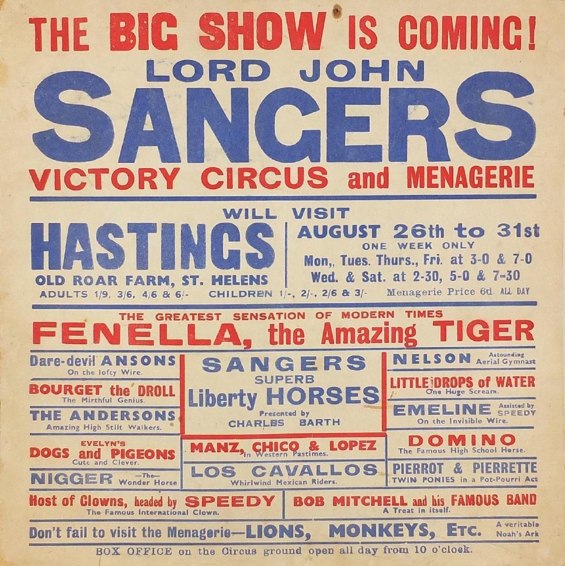 Vintage Lord John Sangers Circus hanging poster, 25.5cm x 25.5cm