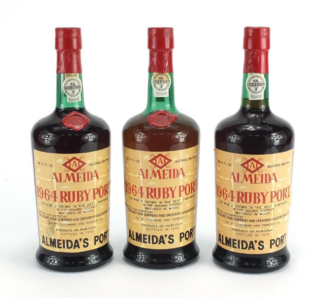 Three bottles of Almeida 1964 Ruby Port, bottled in 1976