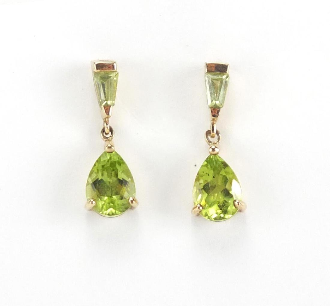 Pair of 9ct gold peridot drop earrings, 1.5cm in length, approximate weight 1.4g