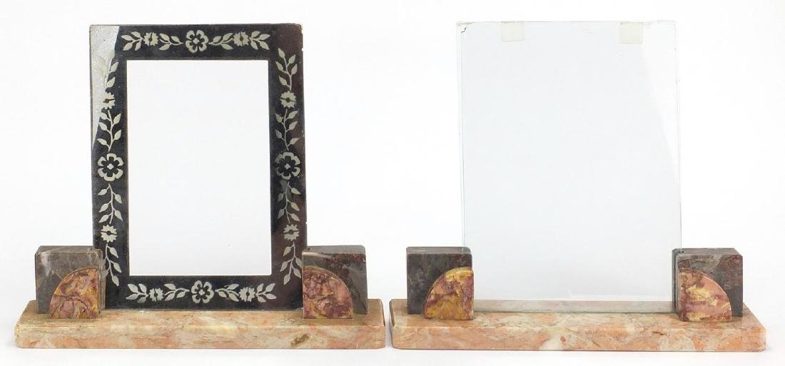 Pair of Art Deco marble photo frames, both with glass backs and one with silvered aperture, each