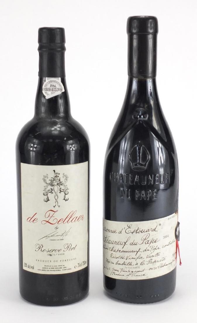 Bottle of Zeller reserve port and bottle of Baronnie D'Estouard Chateauneuf-du-Pape 2004