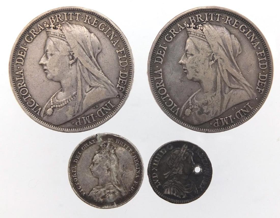 17th century and later silver coinage, including two crowns 1893 and 1897, approximate weight 63.
