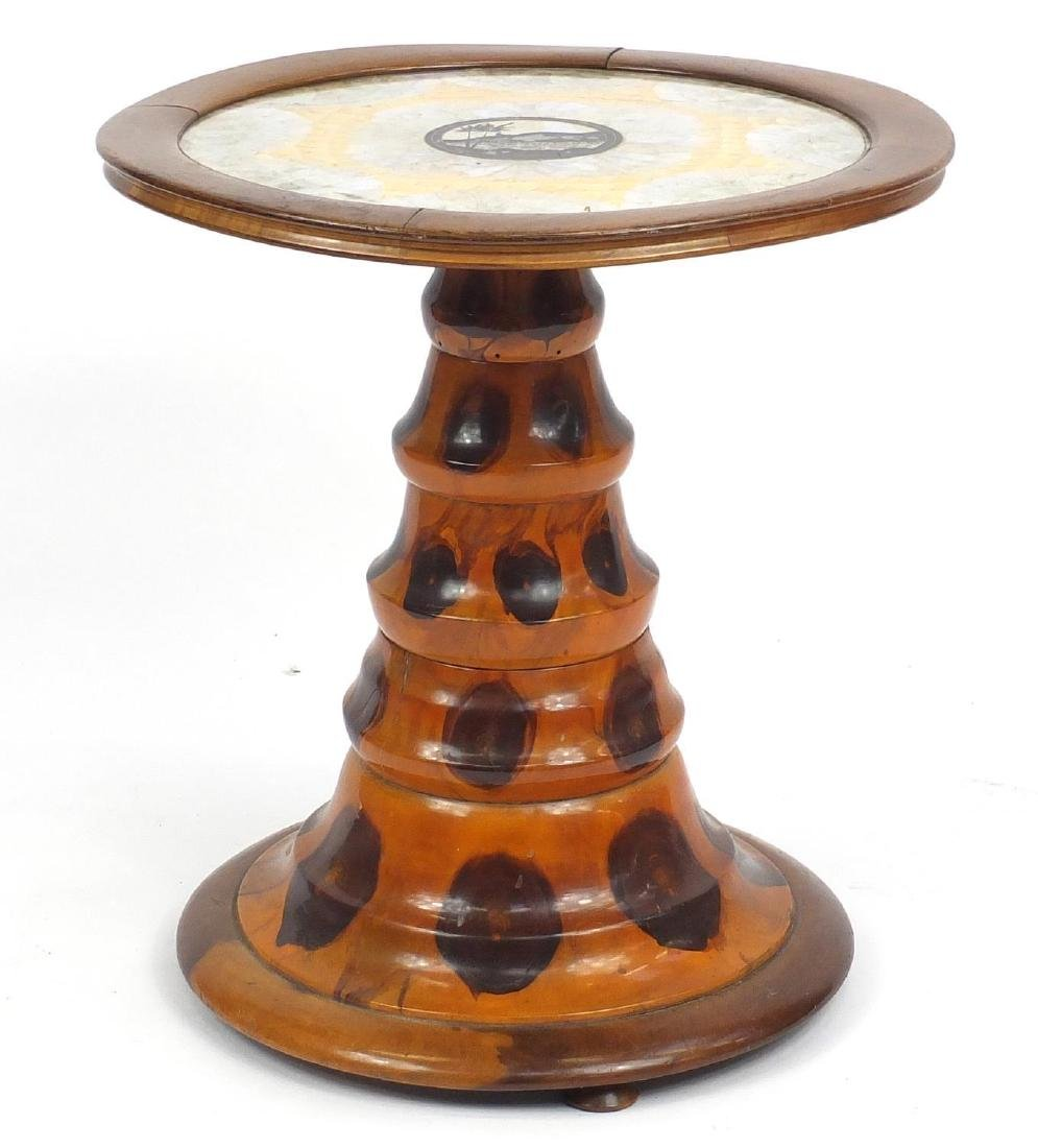 Circular oyster wood occasional table with butterfly wing inlaid top, 57cm high x 53cm in diameter :