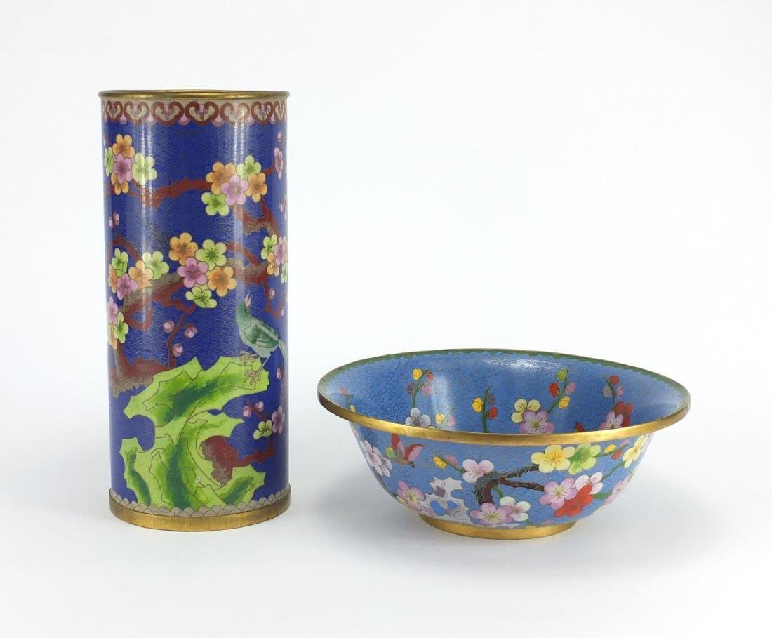 Chinese cloisonné cylindrical vase and bowl, enamelled with birds, butterflies and flowers, the