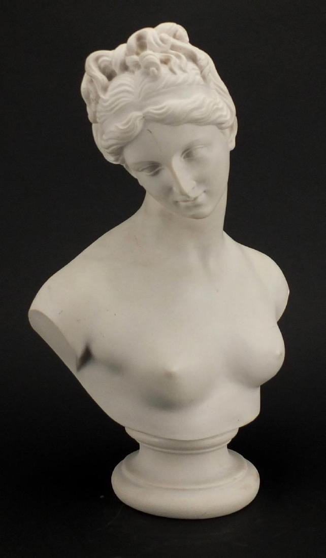 White marble style bust of Venus, 35cm high