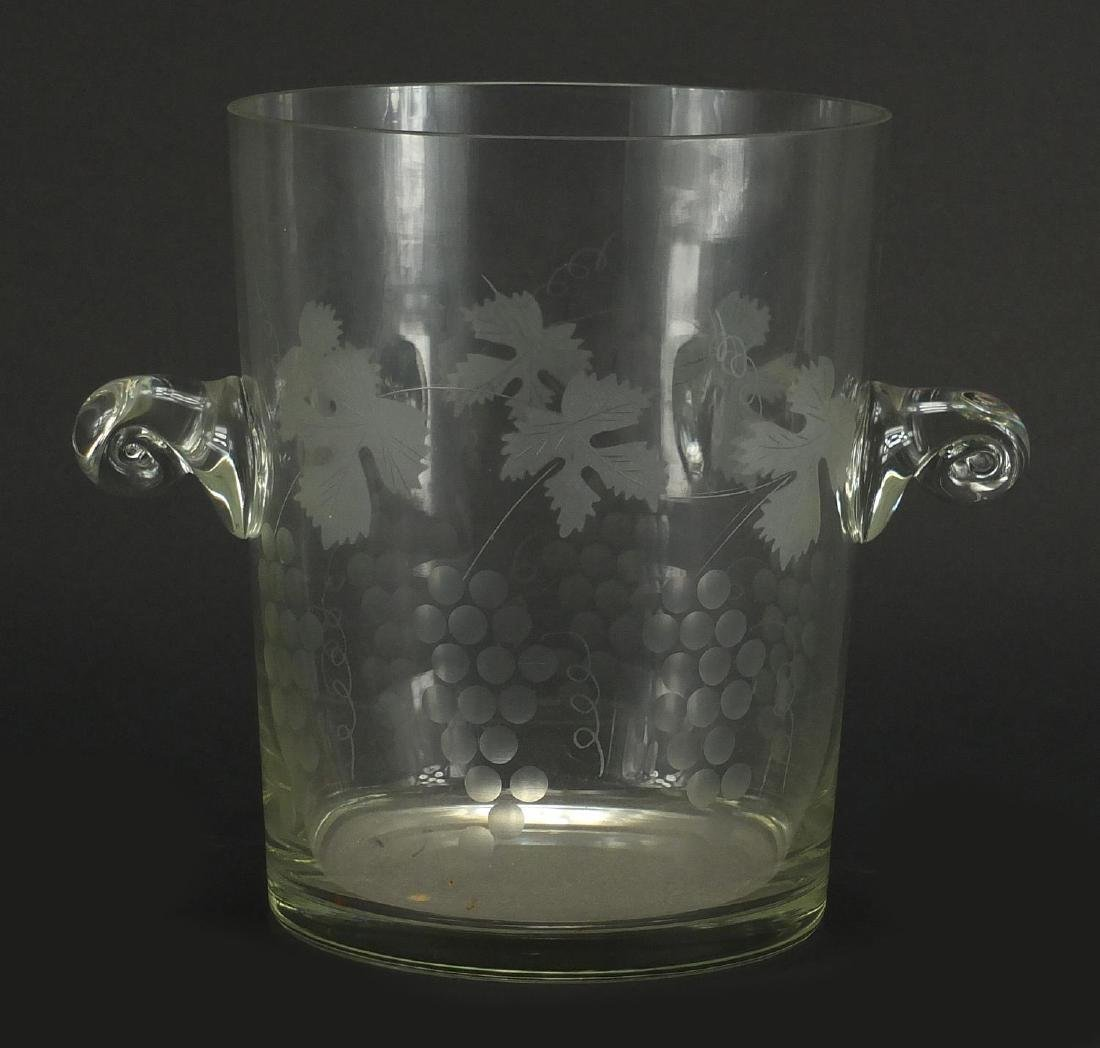 Glass twin handled wine cooler, etched with leaves and berries, 22.5cm high