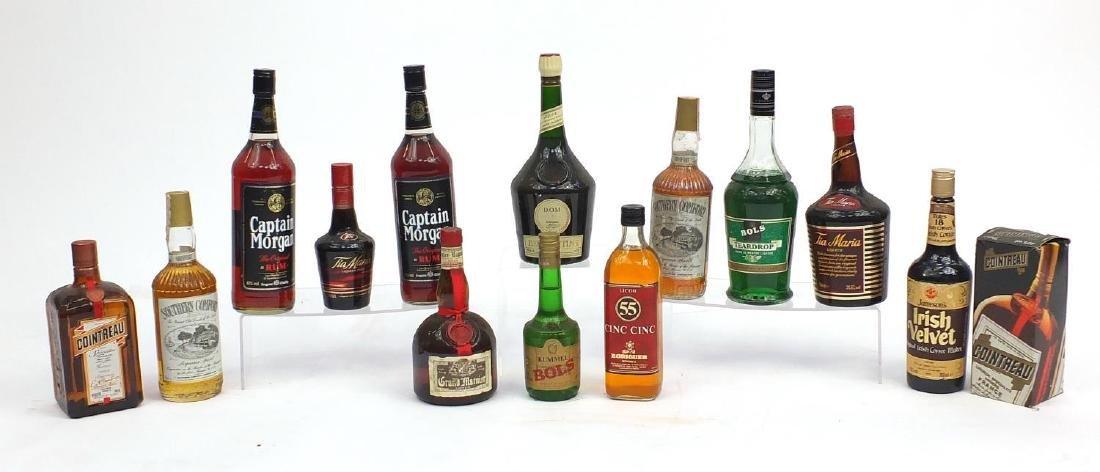 Spirits and liqueurs including Southern Comfort, Captain Morgan, Contreau, Grand Marmier, D.O.M
