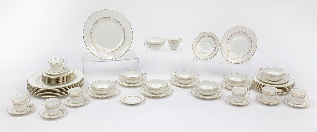 Royal Worcester Gold Chantilly dinner and teaware including plates and soup bowls