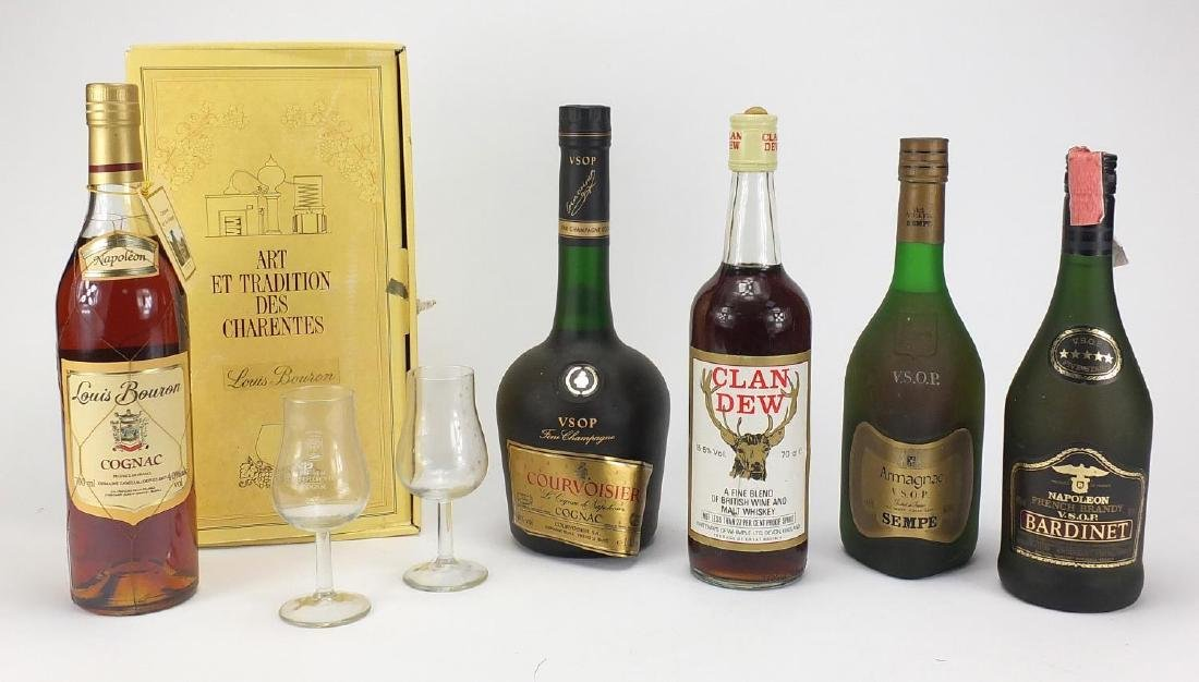 Five bottles of alcohol, Courvoisier VSOP fine champagne cognac, Sempe VSOP Armagnac, Louis Bouron