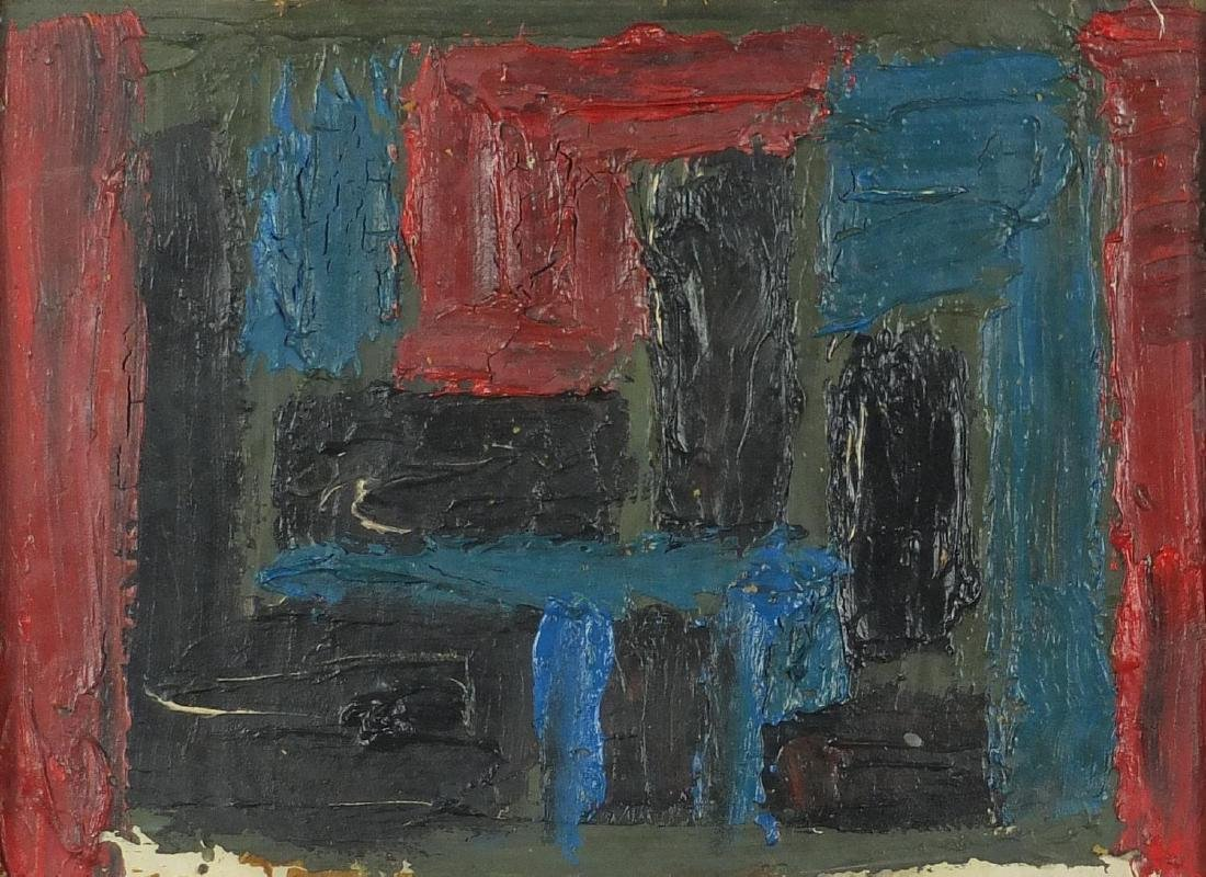 Abstract composition, oil on board, bearing inscriptions verso, framed, 39cm x 28cm