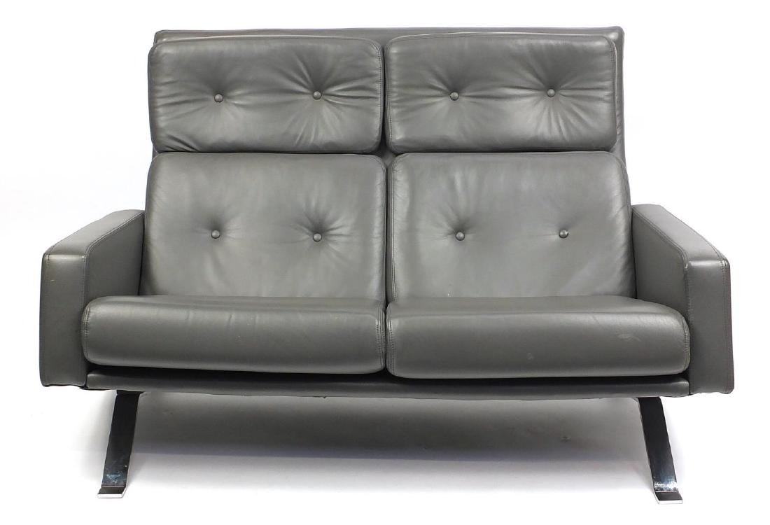 Retro robin grey leather two seater sofa with chrome feet, 130cm in length