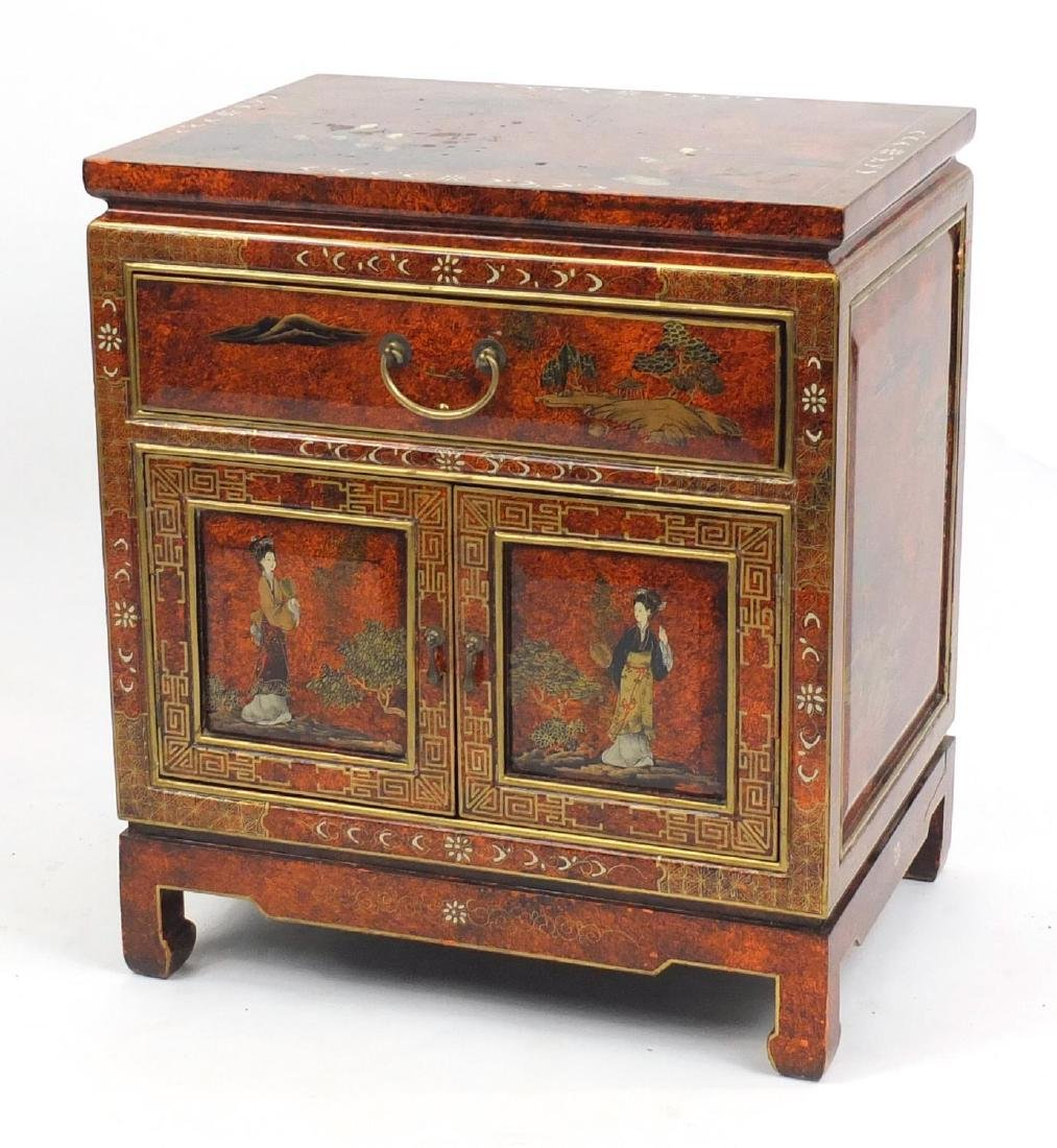 Oriental lacquered side cabinet, fitted with a drawer above a pair of cupboard doors, hand painted