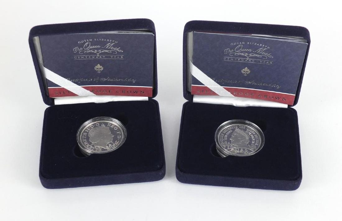 Two Queen Elizabeth The Queen Mother centenary silver proof five pounds