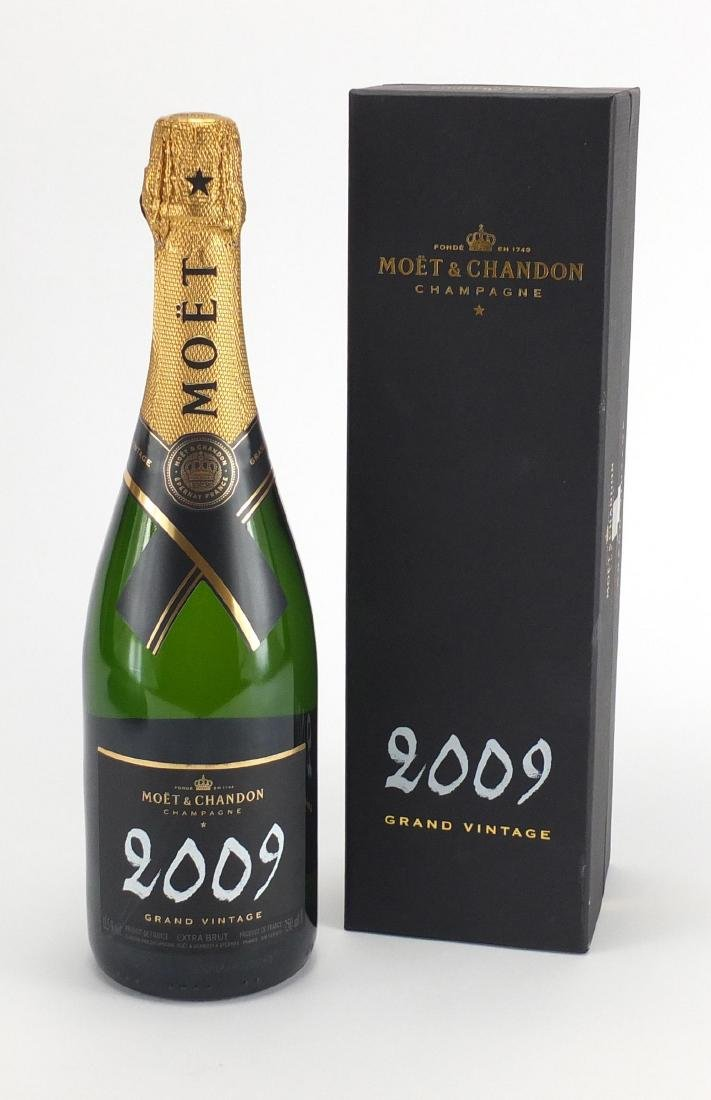 Bottle of Moet & Chandon 2009 Grand Vintage Champagne, with box
