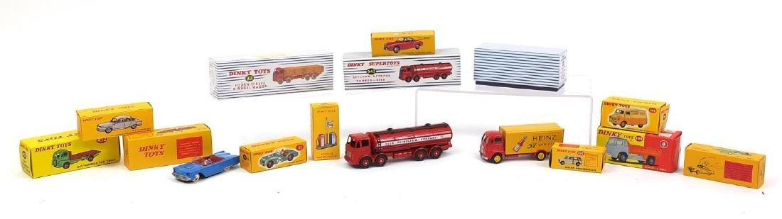 Twelve Atlas edition Dinky Super toys including 943 Leyland Octopus tanker and 920 Guy Van Heinz,