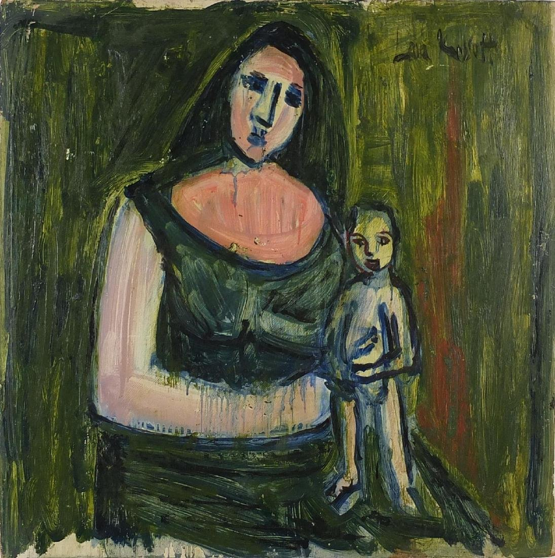 Abstract composition, mother and child, oil on wood panel, bearing an indistinct signature Lara