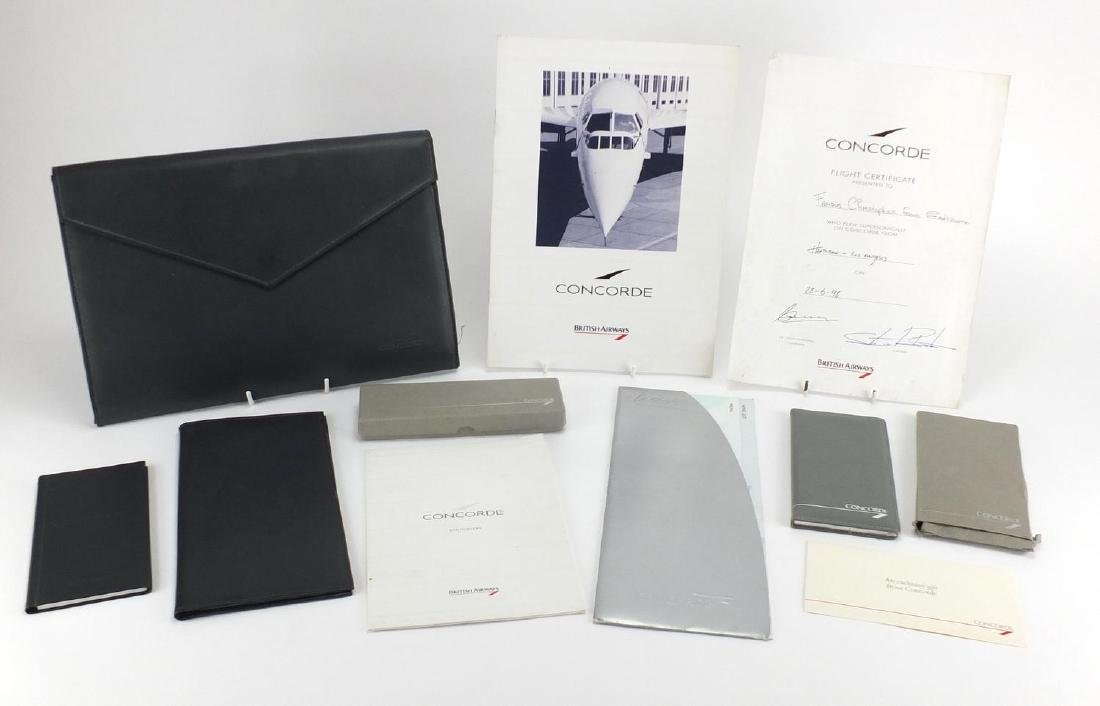 Concorde memorabilia including folder, wallet, menu and signed flight certificate
