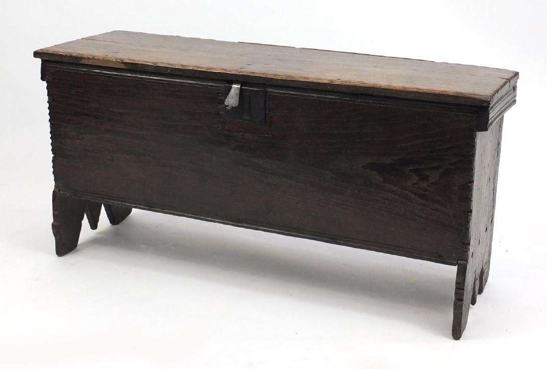 Antique oak plank chest, 54cm H x 112 W x 39cm D