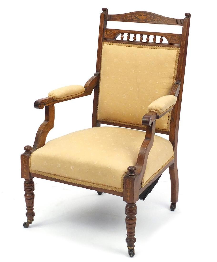Victorian inlaid rosewood occasional chair, with upholstered back, seat and arm rests