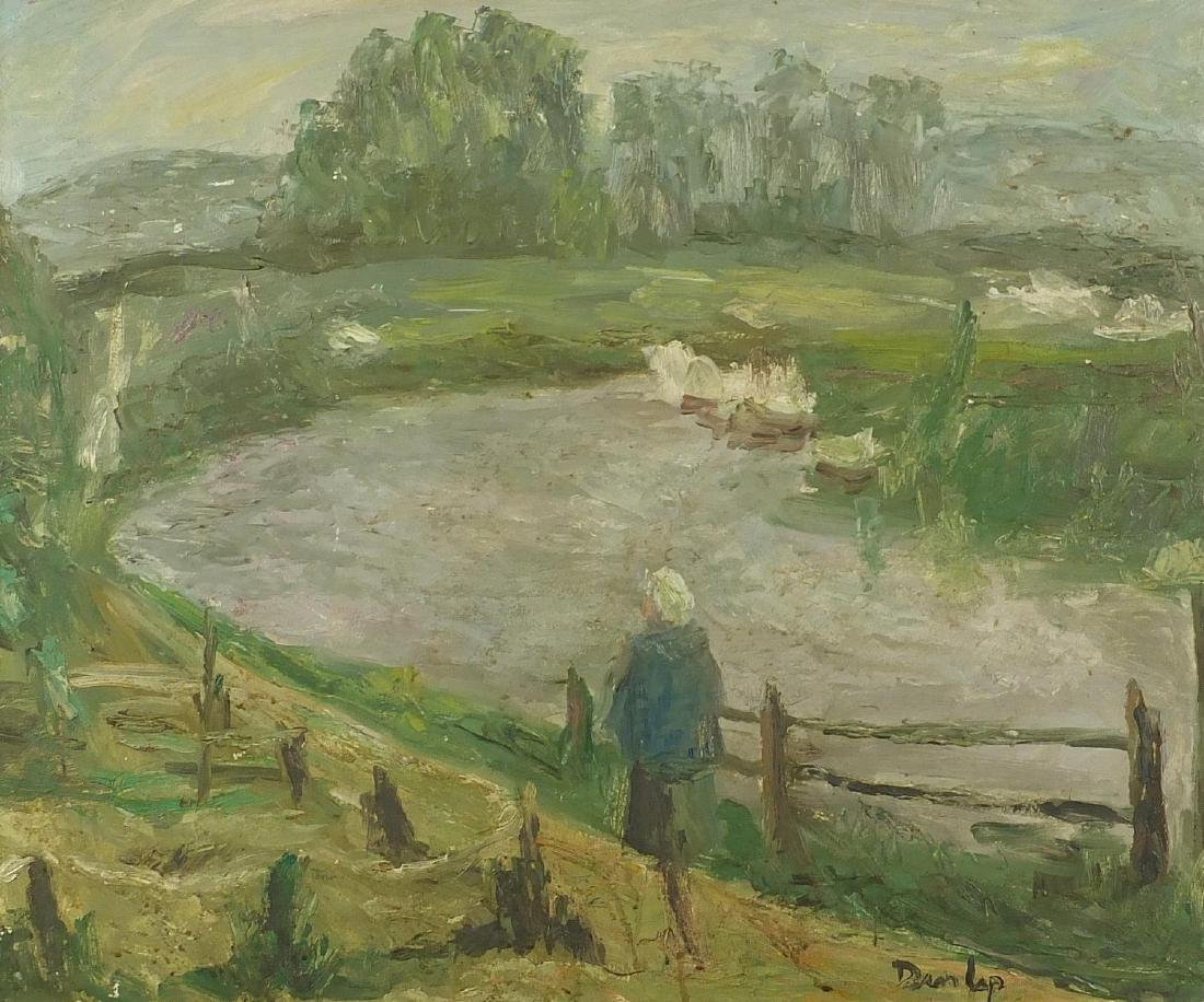 Figure by a pond, oil on board, bearing a signature Dunlop, mounted and framed, 58cm x 49cm