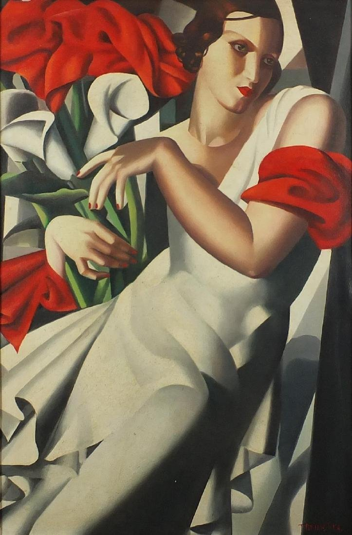 Manner of Tamara de Lempicka - Portrait of an Art Deco female holding flowers, oil on board, mounted