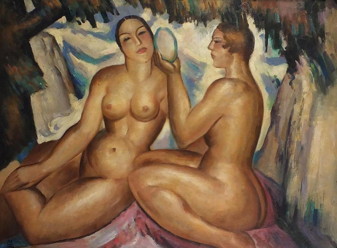 After John Duncan Fergusson - Two nude figures, Scottish colourist school oil on board, inscribed