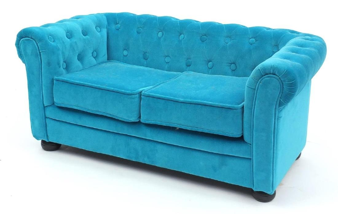 Miniature Chesterfield two seater settee, with turquoise button back upholstery, 38cm H x 85cm W x