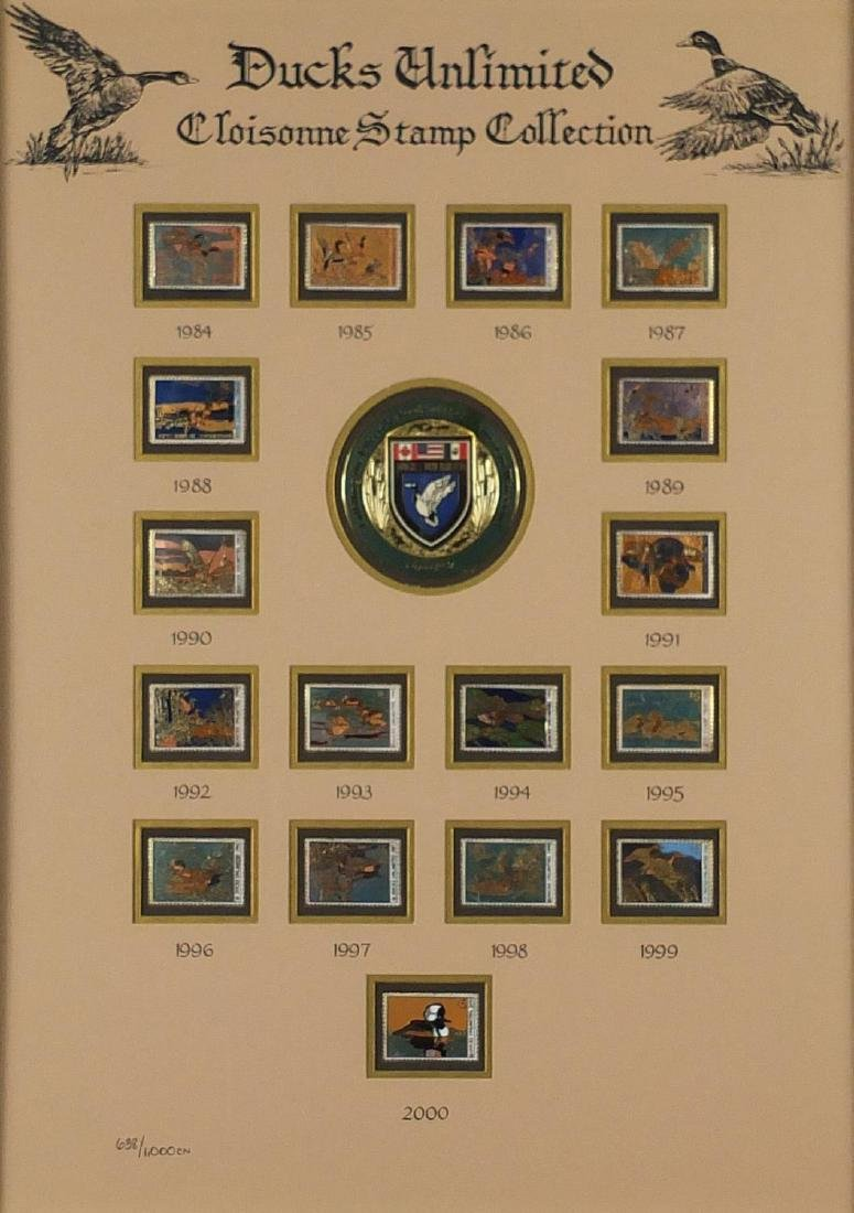 Ducks Unlimited cloisonné stamp collection, limited edition 638/1000, mounted and framed, 48cm x