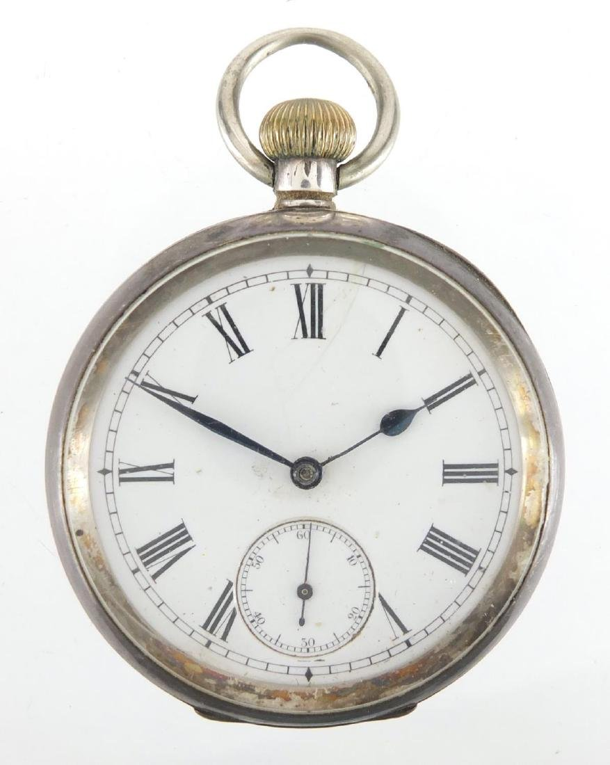 Gentleman's silver open face pocket watch with subsidiary dial, the case stamped Omega, numberd