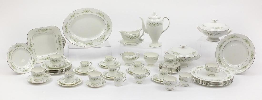 Wedgwood Westbury dinner and teaware including coffee pot, two lidded tureens, gravy boat with stand