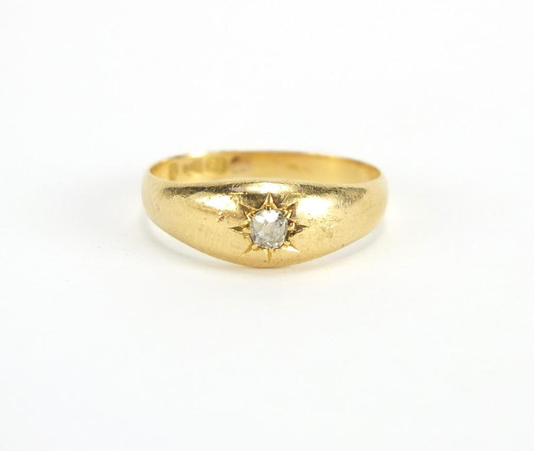 18ct gold diamond solitaire gypsy ring, size P, approximate weight 3.7g