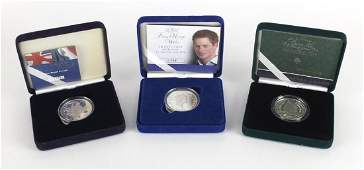 Three silver proof five pound coins, The Queen Mother centenary piedfort crown, 100th Anniversary of