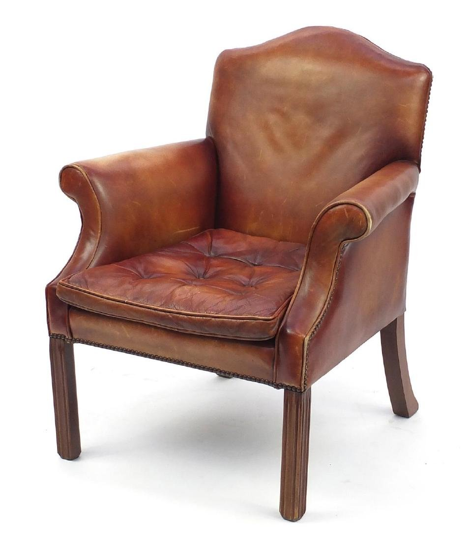 Georgian design brown leather library chair with button upholstered seat, 95cm high