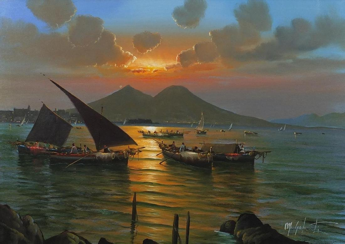 Mario Galanti - Continental seascape with fishing boats, oil on canvas, framed, 69cm x 49cm
