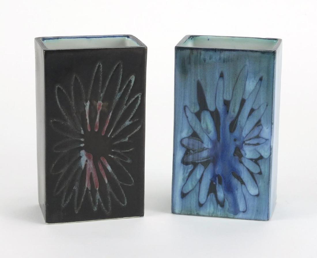 Two Troika brick vases hand painted with flowers, each 11.5cm high