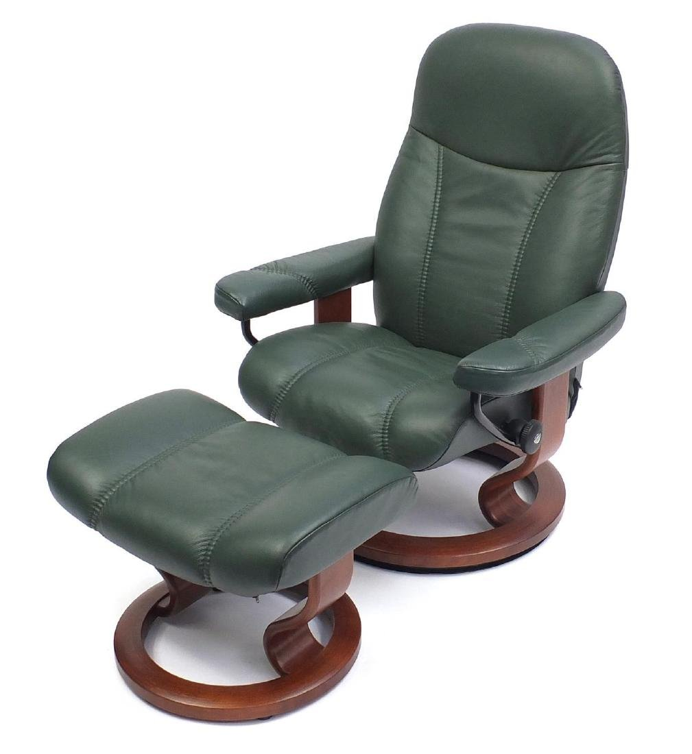 Stressless green leather easy chair and foot stool