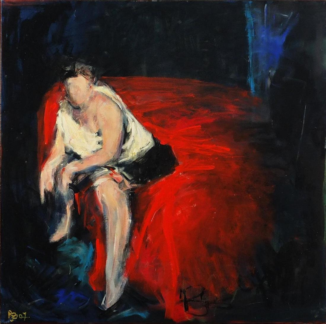 Richard Brown - Male prostitute, oil on canvas, framed, 80cm x 80cm