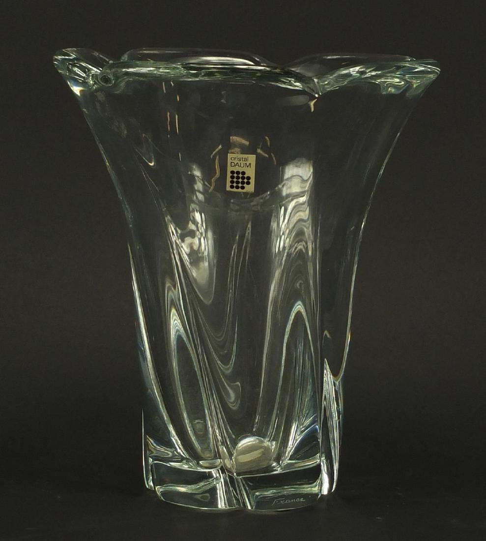 Daum clear crystal vase, etched Daum France around the foot rim, 25cm high