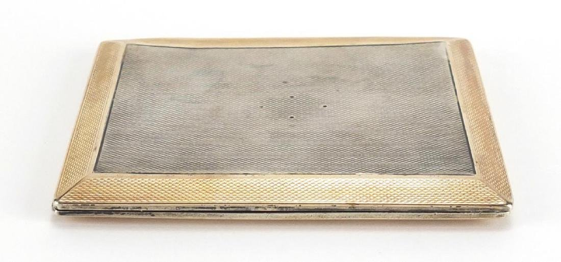 Rectangular silver cigarette case with engine turned decoration, Aspreys London 1929, 9.5cm in