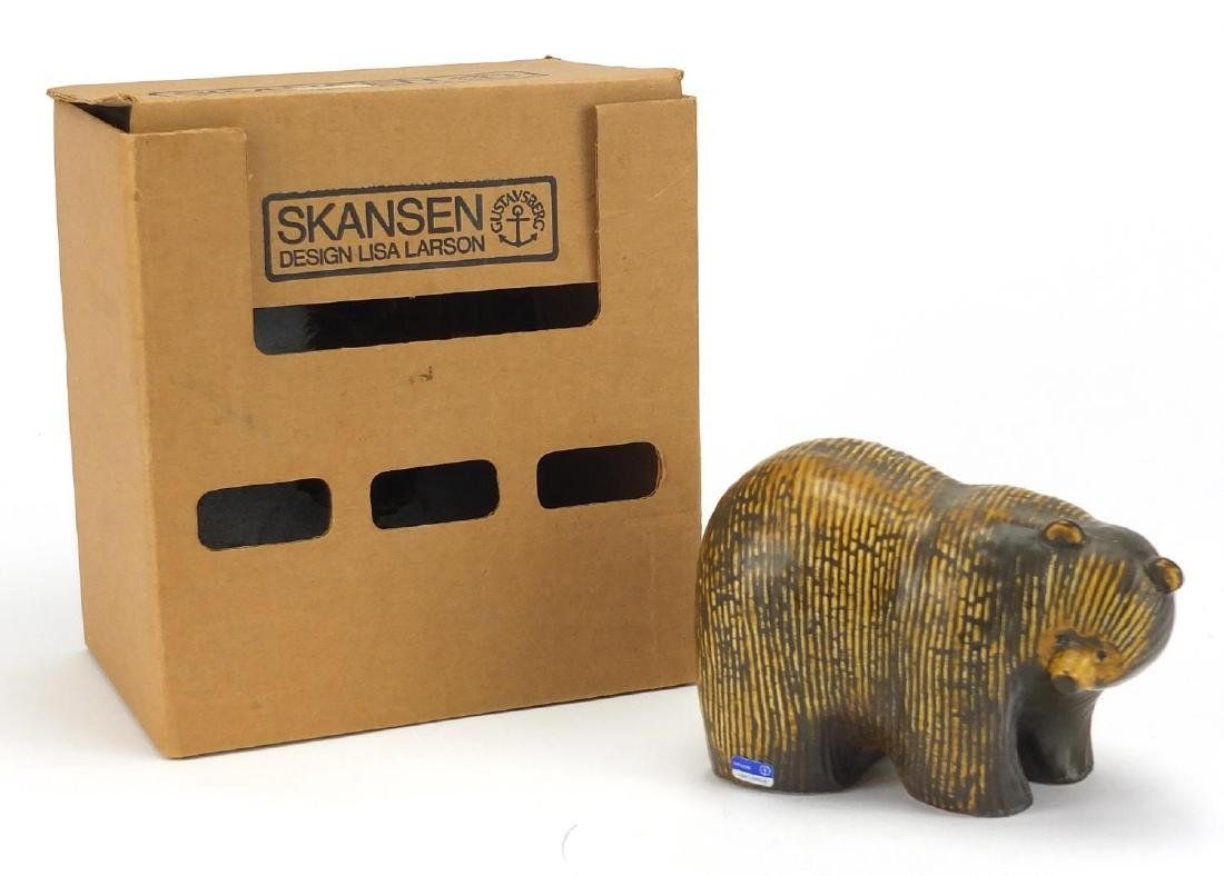 Gustavsberg brown bear designed by Lisa Larson, with box and original label, 16cm in length
