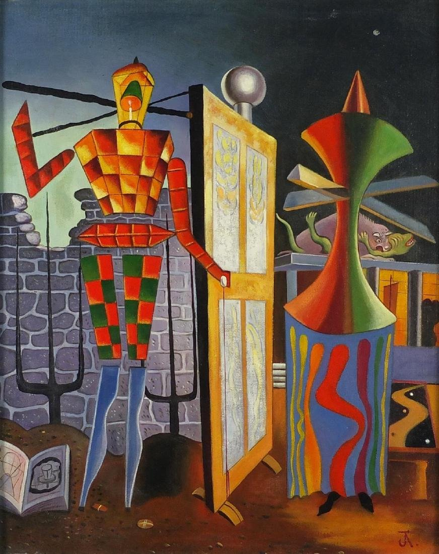 Abstract composition, surreal robot, oil on board, bearing a monogram JA and inscrption verso,