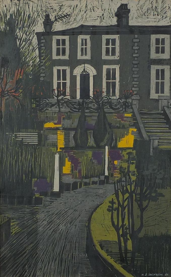 H J Jackson - Abstract composition, house front with a driveway, mixed media on card, bearing a