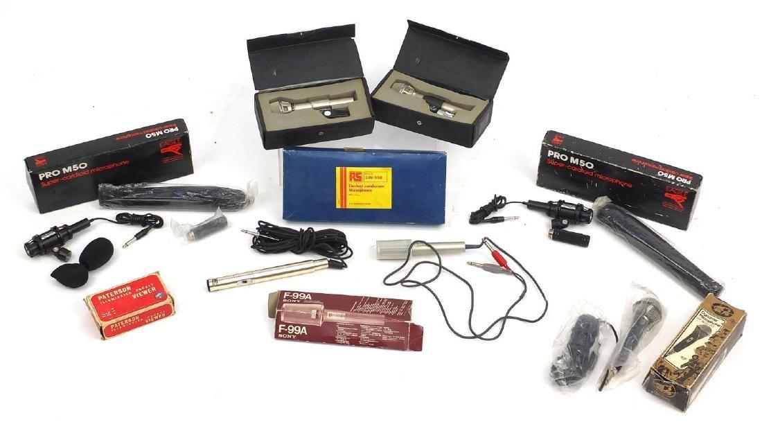 Vintage audio equipment including AKG D microphones