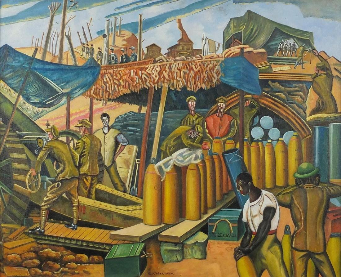 After Christopher Richard Wynne Nevinson - Military figures, oil on board, inscribed verso,