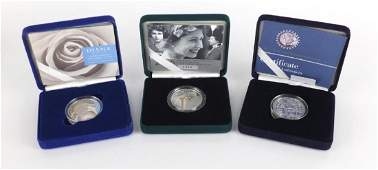 Three silver proof five pound coins, Diana Princess of Wales Memorial, Queens 80th Birthday piedfort