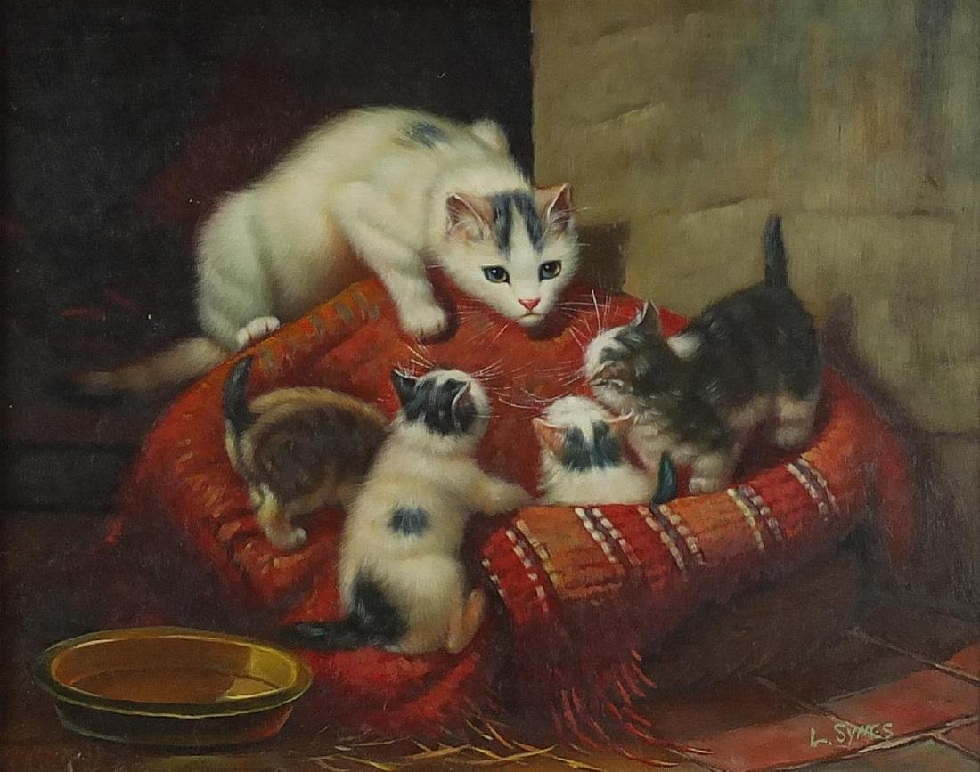 L Symes - Cat with four kittens in a basket, oil on board, mounted and framed, 24cm x 19cm